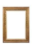 Antyczna drewniana fotografii rama odizolowywająca na białym tle Zdjęcia Stock