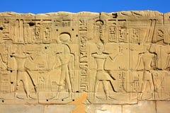 antyczna Egypt hieroglyphics wizerunków ściana Zdjęcia Stock