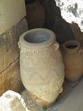 Antyczna gliniana Minoan amfora w Crete, Grecja Obrazy Royalty Free