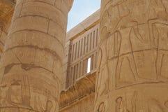 Antyczna hieroglifu Karnak świątyni kolumna Fotografia Royalty Free