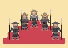 Antyczna japońskiego żołnierza mieszkania grafika Obraz Stock