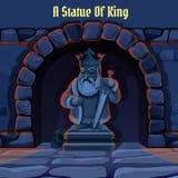 Antyczna kamienna statua królewiątko w dungeon ilustracja wektor