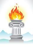 Antyczna kolumna i ogień Zdjęcie Royalty Free