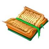 Antyczna książka z pergaminów prześcieradłami, zieleni pokrywą i bookmarking royalty ilustracja