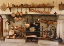 Antyczna kuchnia przy Górskiej chaty De Pommard wytwórnią win w Francja obraz stock