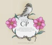 Antyczna kwiatu & ptaka rama, wodnego colour styl, wektor ilustracji