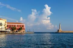 Antyczna latarnia morska w mieście Chania Grecja, wyspa Cre obraz stock