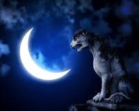 Antyczna lew statua, półksiężyc na nocnego nieba tle i royalty ilustracja