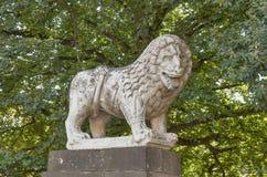 Antyczna lew statua w Lucca, Włochy obrazy royalty free