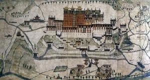 Antyczna 1859 mapa Lhasa, Potala pałac Zdjęcie Stock