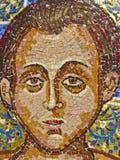 Antyczna mozaika w monasterze w świętej górze Athos Grecja, zakrywający z lekkim omijaniem przez barwionego witrażu Zdjęcia Stock