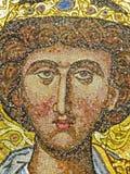 Antyczna mozaika w monasterze w świętej górze Athos Grecja, zakrywający z lekkim omijaniem przez barwionego witrażu Fotografia Royalty Free