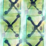 Antyczna ornament zieleń, błękitny rysunek usa kolorowy Zdjęcie Stock