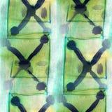 Antyczna ornament zieleń, błękitny rysunek usa kolorowy Fotografia Stock