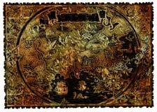 Antyczna pirat mapa skarby z fantazji istotami ilustracji
