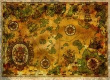 Antyczna pirat mapa z starymi pirat żaglówkami, skarb wyspami i barokowym sztandarem, Obraz Stock