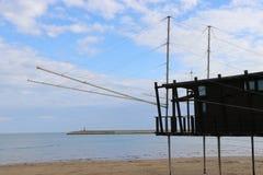 Antyczna połów maszyna typowa wybrzeże, Molise i Abruzzo ochraniający jako monumentalny dziedzictwo Gargano, zdjęcie stock