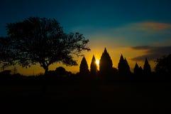 Prambanan świątynia przy zmierzchem, Jawa, Indonezja Obraz Stock
