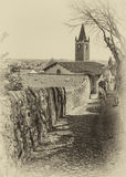Antyczna średniowieczna droga która prowadzi od wioski Soave th Obraz Royalty Free