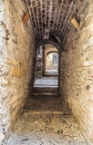 Antyczna średniowieczna ulica w Girona Zdjęcia Stock