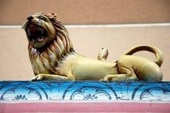 Antyczna rzeźba lew w Hinduskiej świątyni Zdjęcie Stock