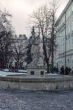 Antyczna statua Adonis w głównym placu Lviv Obrazy Royalty Free