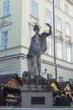 Antyczna statua Amphitrite w głównym placu Lviv Zdjęcia Royalty Free