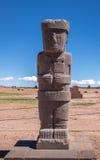 Antyczna statua przy Tiwanaku Tiahuanaco, Columbian archeologiczny miejsce - los angeles Paz, Boliwia Obrazy Stock
