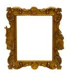 antyczna sztuki rama odizolowywająca nad deseniowym biały drewnem Zdjęcie Stock