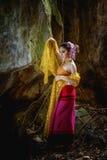 Antyczna Tajlandzka kobieta W Tradycyjnym kostiumu Tajlandia Obraz Stock