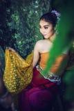 Antyczna Tajlandzka kobieta W Tradycyjnym kostiumu Tajlandia Zdjęcia Royalty Free