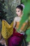 Antyczna Tajlandzka kobieta W Tradycyjnym kostiumu Tajlandia Zdjęcie Stock