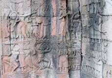 Antyczna ulga w Angkor Wat, Kambodża, Siem Przeprowadza żniwa Zdjęcia Royalty Free