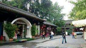 Antyczna ulica pod zielonymi roślinami w Chengdu, Chiny Zdjęcia Stock