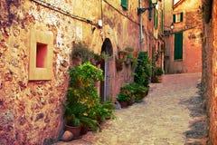 Antyczna ulica w Valldemossa wiosce, Mallorca Zdjęcia Stock