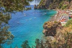 Antyczna wieża obserwacyjna wzdłuż malowniczego Amalfi wybrzeża przy Positano, Włochy (Campania) Fotografia Stock