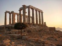 Antyczna świątynia Poseidon. Przylądek Sounion, Attica, Ateny, Grecja Zdjęcia Royalty Free