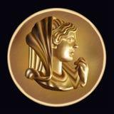 Antyczna złota moneta ilustracja wektor