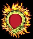Antyczna zielona chińska egzotyczna zielonego smoka ilustracja w pożarniczych płomieniach Zdjęcie Royalty Free