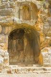 Antyczne świątynie niecka przy Banias wodą uprawiają ogródek w Izrael przy dnem góra Hermon w Północnych wzgórze golan Izrael fotografia stock
