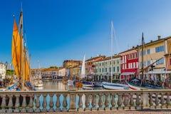 antyczne żaglówki na Włoskim kanału porcie Obrazy Royalty Free
