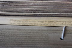 Antyczne Buddyjskie mantry na bambusowych liściach Obrazy Stock
