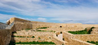 Antyczne ściany cytadela, Wiktoria, Malta Obraz Royalty Free