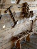 Antyczne drewniane gospodarstwo domowe rzeczy Zdjęcia Stock