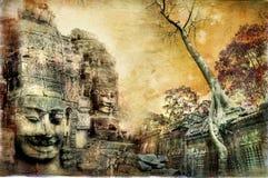 antyczne kambodżańskie świątynie royalty ilustracja