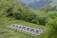 Antyczne kamienne sanktuarium ruiny przy Sarmizegetusa Regia Zdjęcia Royalty Free