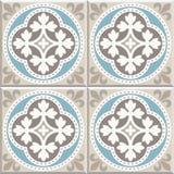Antyczne podłogowe ceramiczne płytki Wiktoriański Angielski podłogowy tafluje projekt, bezszwowy wektoru wzór royalty ilustracja