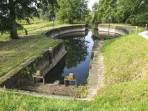 Antyczne resztki kanałowy kędziorek w Lauenburg, Niemcy obrazy stock