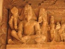 Antyczne rockowe rzeźby, bogowie i boginie, Khajuraho w Madhya Pradesh, India, słoneczny dzień Światowego dziedzictwa miejsce UNE zdjęcia stock