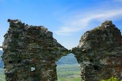 Antyczne ruiny kasztel miasteczko Khust & x28; Dracula kasztel fotografia stock
